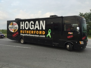 Gov. Hogan's campaign bus is here.  I find that odd, considering he won the election months ago.  Perhaps stop campaigning and start governing.
