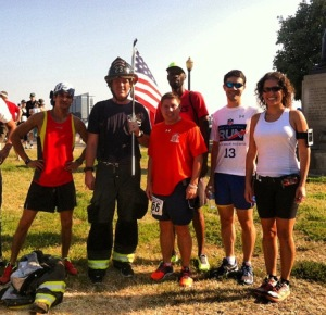Run to Remember 5k, then we ran another 12 miles Tim, Firefighter, Me, Theo, Richard, Camila