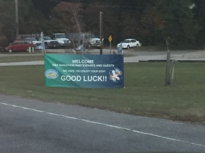 Lots of business had signs up welcoming runners! First one I saw when I entered Kitty Hawk.